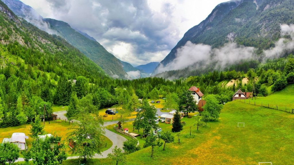 Slovenian Vilage Green Valley Mountains Landscape Forests Clouds Dual Wallpaper
